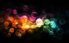 Abstract colorful circles bubbles bokeh wallpaper