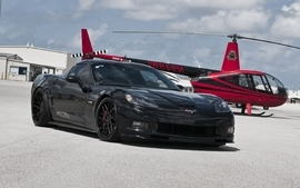 Aircraft black chevrolet corvette wallpaper
