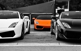 Black white cars selective coloring lamborghini gallardo orange wallpaper