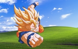 Bliss windows xp son goku microsoft windows dragon ball z wallpaper