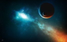 Blue outer space dark red planets artwork wallpaper