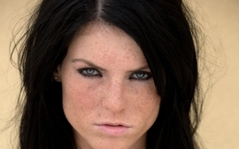 Brunettes women blue eyes freckles faces wallpaper