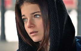 Brunettes women blue eyes scarfs wallpaper