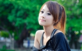 Brunettes women trees tank tops asians taiwan earrings mikako wallpaper