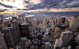 Clouds cityscapes architecture buildings new york city wallpaper
