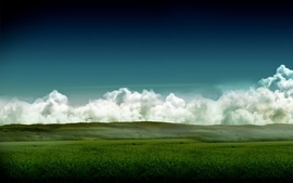 Clouds landscapes nature fields fog wallpaper