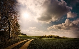Clouds landscapes nature roads wallpaper