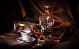 Coffee alcohol cookies spoons cognac liquor wallpaper