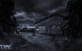 Horror video games rain zombies alone execution silent photo wallpaper