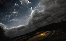 Landscapes stars planets science fiction wallpaper