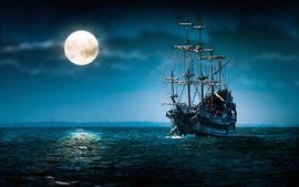 Old sailing ship with moon wallpaper