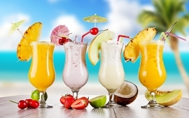 Pineapples glasses cherries straws coconut strawberries drinks wallpaper