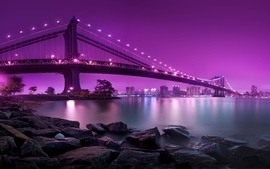 Purple manhattan brooklyn city lights rivers bright suspension wallpaper