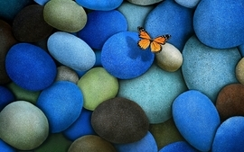 Stones butterflies wallpaper