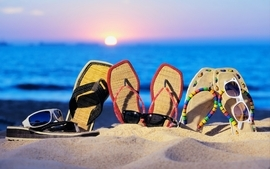 Sun beach sand sunglasses sandals flip flops wallpaper