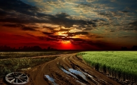 Sunset landscapes roads wallpaper