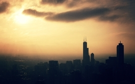 Sunsets cityscapes skyline dawn chicago sunlight morning grainy wallpaper
