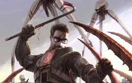Video games monsters blood halflife glasses gordon freeman wallpaper