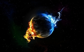 Water planets fire earth black background wallpaper