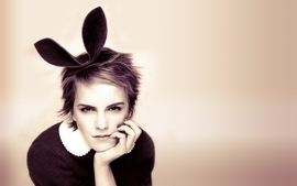Women emma watson actress bunny ears wallpaper