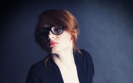 Women redheads models glasses black dress open blouse blue wallpaper