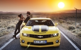 Women sunset sunrise sun men chevrolet chevrolet camaro wallpaper