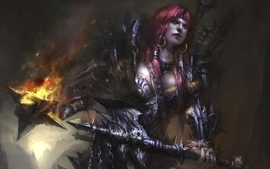 Women video games redheads fantasy art armor barbarian artwork wallpaper