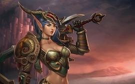 Women video games world of warcraft horns weapons blue hair wallpaper