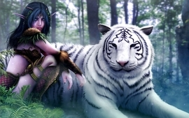 World of warcraft white tiger fantasy art elves artwork drawings wallpaper